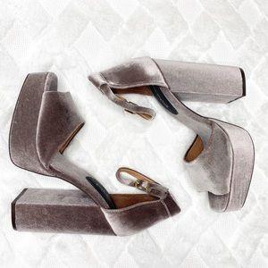 JEFFREY CAMPBELL velvet platform heels.